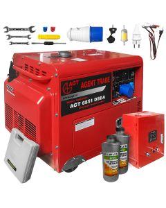 Pachet generator electric cu automatizare Profesional AGT 6851 DSEA 5 kVA monofazat Diesel  AVR insonorizat + 2l ulei motor AgroPro
