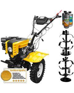 Pachet motocultor Profesional AgroPro HS 1000B motor 7 CP latime lucru 110 cm senzor ulei far freze roti cauciuc 1l ulei motor 2l ulei transmisie AgroPro