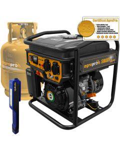 Generator Invertor profesional Hibrid GPL/Benzina, AgroPro SMART IG 3600, putere 3 KVA, AVR, motor 7CP, monofazat, lanterna LED magnetica AgroPro