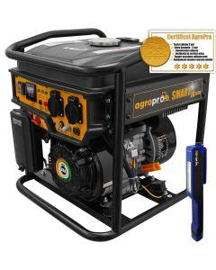 Generator Invertor profesional AgroPro SMART IG 3600, putere 3 KVA, AVR, motor 7CP, benzina, monofazat, lanterna LED magnetica AgroPro