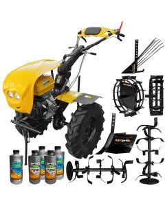 Pachet motocultor ProGarden HS 1100D motor 16CP EURO V 2+1 viteze de mers senzor de ulei pornire rapida freze roti cauciuc + roti metalice + rarita reglabila + plug cartofi + Cadou 5L ulei AgroPro